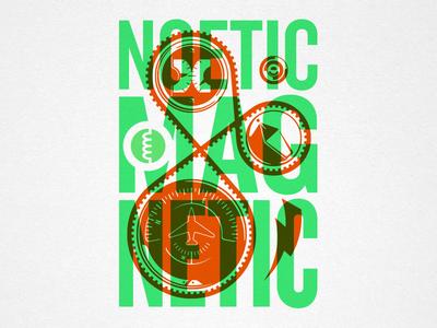Noetic Magnetic steve bullock electric magnet gauge dial screenprint overprint vector illustration poster
