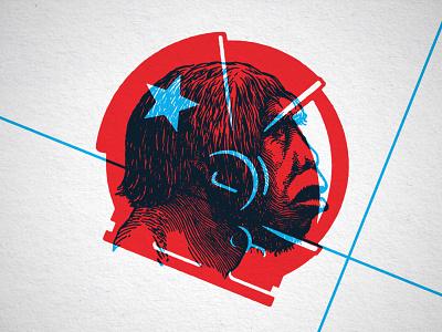 Spaceman steve bullock icon illustration caveman helmet space overprint