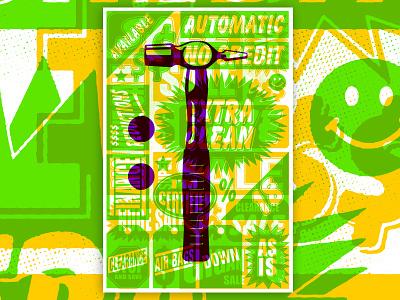 Main Street Constructivism steve bullock type hammer screenprint overprint vector illustration poster