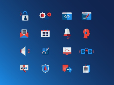 Custom tech icons computer science flat gears chat code icons iconography