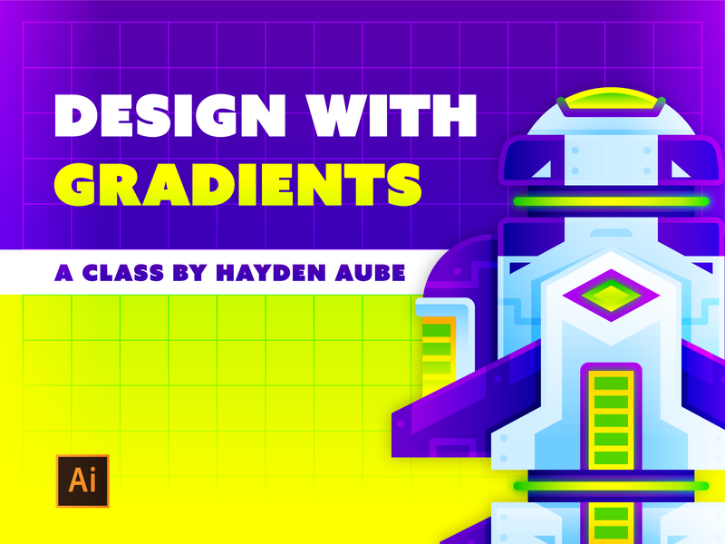 Design with Gradients lighting gradients process education tutorial alien space spaceship skillshare vector design illustration