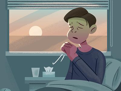 Morning Asthma flu sick healthcare editorial illustration morning bed asthma