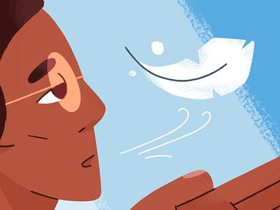 Breath Control lungs editorial healthcare health respiration feather breathe texture design illustration