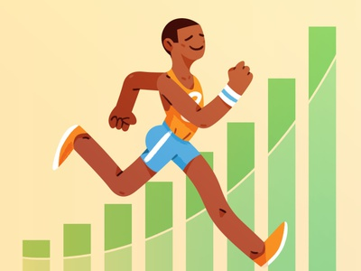 Athletic Measurement run running athlete sports healthcare editorial texture design happy illustration character