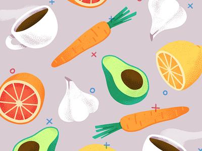 Food garlic avocado carrot lemon orange coffee editorial design texture illustration