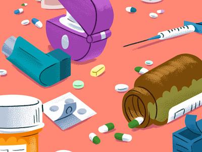 Medicine healthcare medical sick asthma puffer inhaler tablets pills needle syringe texture design illustration