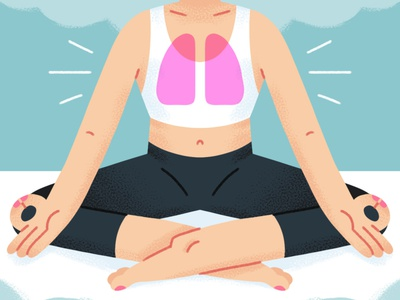 Yoga and Asthma asthma lungs exhale inhale meditation breathe breathing yoga woman texture design illustration