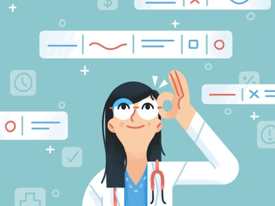 Doctor Dashboard editorial healthcare medical hospital information data technology doctor texture happy design illustration character