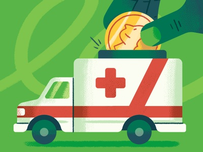 Cash Only Practice editorial payment money coin vend hospital health healthcare medical ambulance texture design illustration
