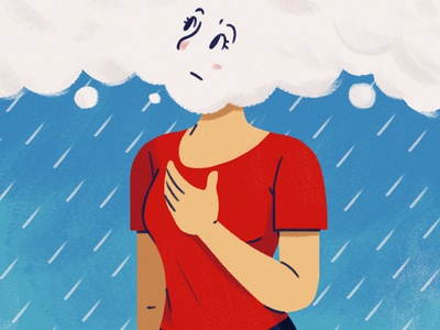 The Effects of Weather on Asthma medical healthcare breathing asthma health weather rain woman editorial texture design illustration character