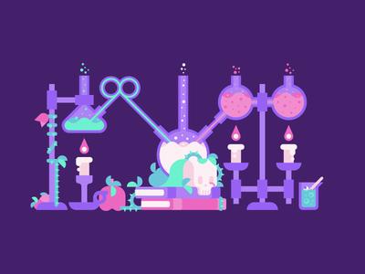 Brew sorcery magic spell apple brew laboratory skull halloween potion alchemy