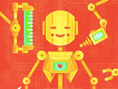 Character Design with Story skillshare education technology heart illustration texture operation robot design character