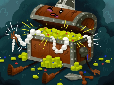 Spoils of War sword battle fantasy design character mimic wounded gold gems soldier chest treasure