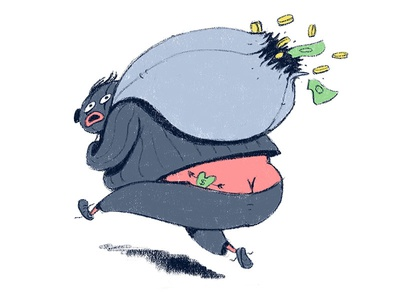 Burglar rough texture quest design character big fat bag money criminal thief