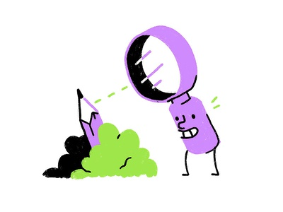 Happy Magnifier investigate find looking glass lens magnify smile design character bushes pencil