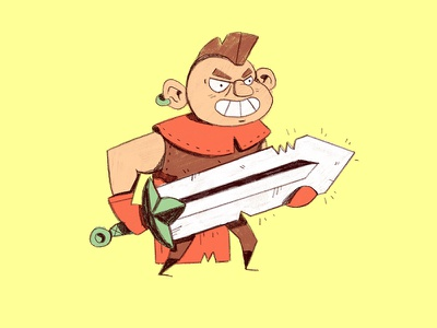 First-time Adventurer mohawk cape cartoon warrior sword illustration fantasy adventure quest character