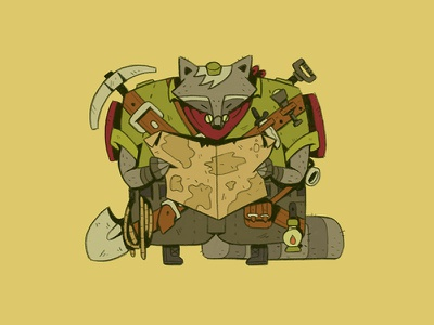 Treasure Hunter loot hunt explorer pickaxe shovel map animal quest character raccoon