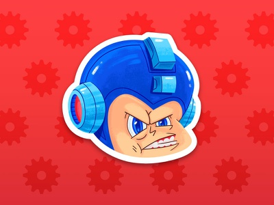 Mega Man sticker robot ultimate smash bros nintendo switch character design game dev game megaman nintendo capcom cartoon texture illustration character