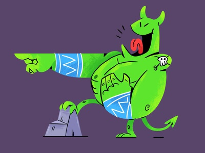 Imp magic smile fantasy quest texture cartoon happy design illustration character