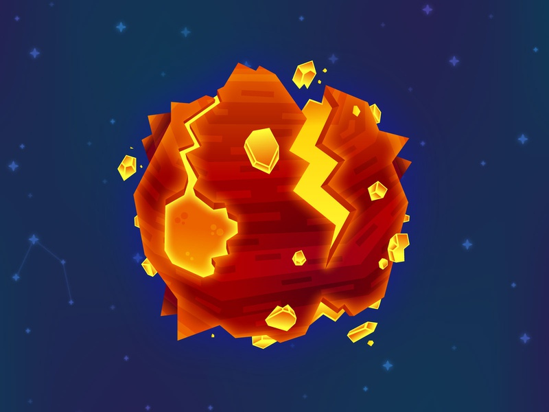 Molten Planet cartoon illustration design vector illustration vector game art game design galaxy level design hot magma fire moon space