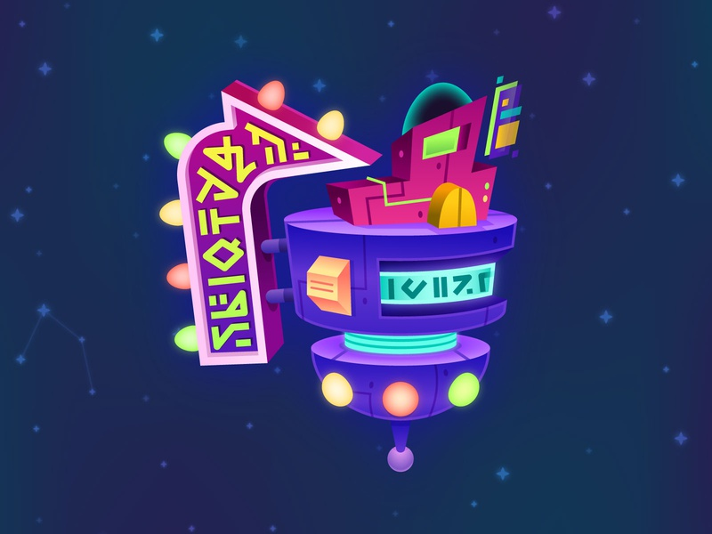 Intergalactic Outpost vector illustration illustration design kids game game art game design game vector constellation star spaceship store space