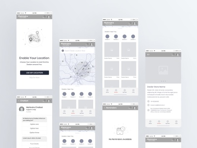 Wireframe _ App application hybride andriod ios app tracking app maps dealers location app ecommence 1st shot admin panel design admin dashboard ui ux typography minimal wireframing wireframe app design