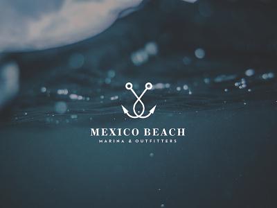 Mexico Beach Marina Logo florida fish typography fishing hooks logo design