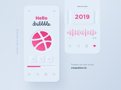 Hello Dribbble <3 invite free invite skeuomorphism skeuomorph debut music app design app ui neumorphism