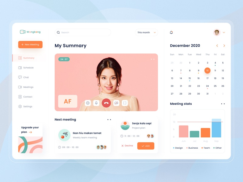 Wangkong Online Meeting Web App icon pattern calendar video schedule meeting statistics orange web app website logo landing page illustration dashboad ux ui app modern design clean