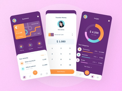 Wangsulan - Finance App UI Design app design mobile design banking balance icon transfer payment credit card fintech finance website landing page illustration dashboad app ux ui modern design clean