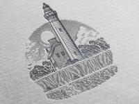 Lighthouse scratchboard etching superior picturedrocks nationalpark michigan logo lakesuperior lakemichigan keweenaw isleroyale illustration humdinger greatlakes apostleislands grandportage