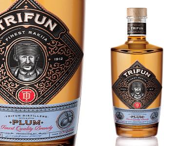 Trifun Mock scratchboard illustration design label packaging spirits bourbon whiskey brandy rakija