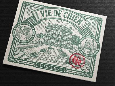 Vie De Chien Illustration (Mockup) packaging design vintage tobacco cane corso monogram illustration scratchboard etching house dog label