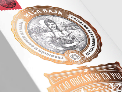 Mesa Baja Packaging copperfoil luxury lux packagingdesign mockup farmer coffee cacao scratchboard woman agriculture illustration vintage retro packaging