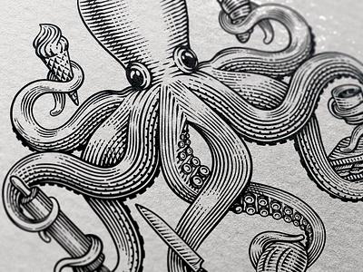 Octopus Close-up octopus logo tentacles restaurant octopus scratchboard etching logo illustration retro vintage