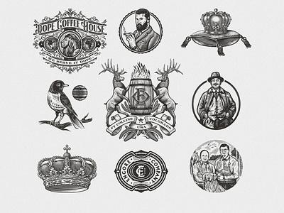 Emblems Set lion bird crown set scratchboard crest etching logo retro vintage illustration emblem