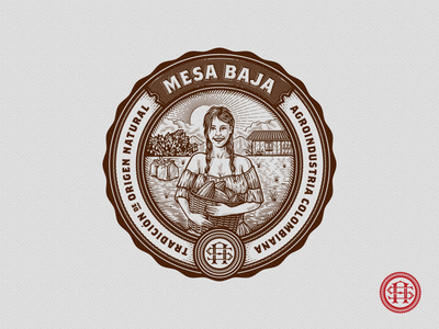 Mesa Baja Cacao Emblem agriculture cocoa illustration colombia badge monogram scratchboard etching farm farmer vintage retro packaging emblem cacao