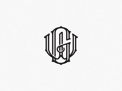 Grafted Monogram scratchboard etching type letters lettering gw monogram logo retro vintage