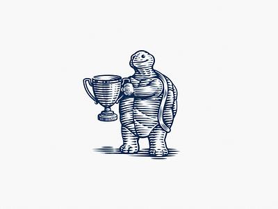Ariel Invests trophy illustration scratchboard vintage retro investments ariel turtle