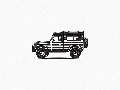 Defender classic cars classic jeep vehicle garage design etching automotive scratchboard car retro vintage illustration defender land rover