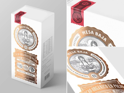 Mesa Baja Cacao - Concept agriculture luxury label farm emblem scratchboard etching copper foil gold foil luxury packaging luxury vintage retro label packaging coffee cacao