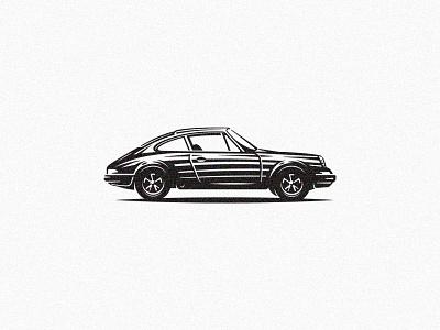 Porsche 911 illustration vintage retro car scratchboard automotive etching design garage vehicle 911 porsche classic classic cars