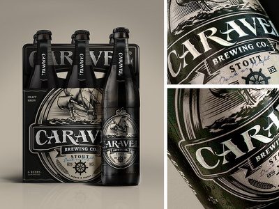 Caravel Brewing Co [Concept] ale retro vintage black ship packaging label brewing company beer stout brew