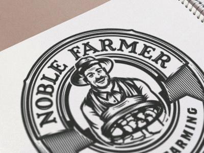 Noble Farmer wip organic agriculture hat vintage retro illustration character ranch food farm farmer