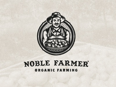 Noble Farmer 02 wip organic agriculture hat vintage retro logo illustration character ranch farm farmer