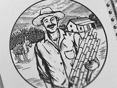Farmer farmhouse sugar cane brand retro vintage badge emblem agriculture farm ranch farmer
