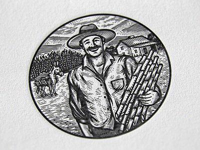 Farmer II farmhouse sugar cane retro vintage badge emblem agriculture farm ranch illustration letterpress farmer