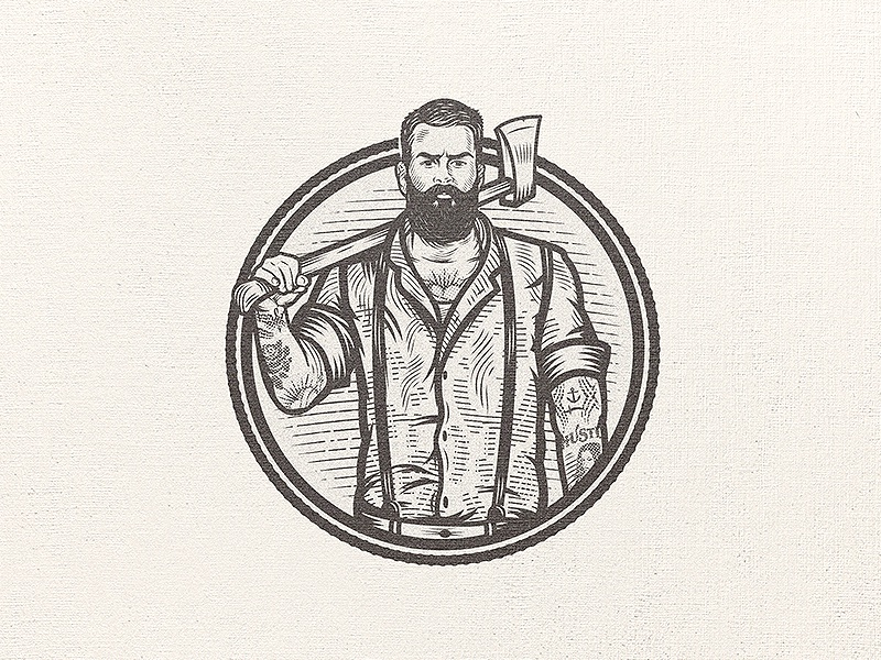Hipster Lumberjack drawing sketch beard tattoo axe lumberjack hipster