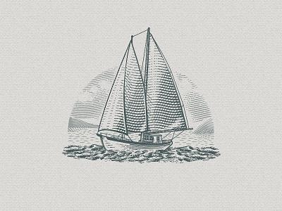 Schooner Illustration 01 sails sea outdoor emblem retro vintage illustration ship adventure boat schooner