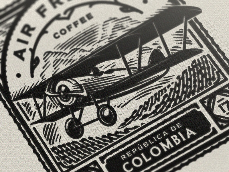 Stamp Close up export coffee colombia print illustration sky retro vintage plane airplane etching stamp